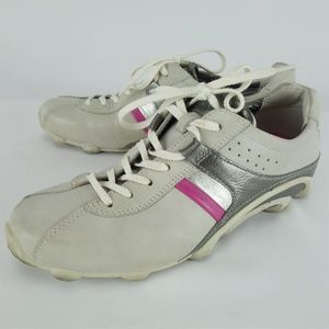 ECCO White Gray Pink Fashion Sneakers 6-6.5 #SA33